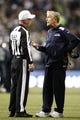 Sep 15, 2013; Seattle, WA, USA; Seattle Seahawks head coach Pete Carroll speaks to an official in between plays against the San Francisco 49ers during the second quarter at CenturyLink Field. Mandatory Credit: Joe Nicholson-USA TODAY Sports