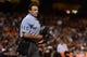 September 6, 2013; San Francisco, CA, USA; MLB umpire Phil Cuzzi (10) looks on during the fourth inning between the San Francisco Giants and the Arizona Diamondbacks at AT&T Park. The Giants defeated the Diamondbacks 3-0. Mandatory Credit: Kyle Terada-USA TODAY Sports