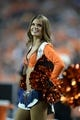 Sep 5, 2013; Denver, CO, USA; Denver Broncos cheerleader performs during the game against the Baltimore Ravens at Sports Authority Field at Mile High. Mandatory Credit: Ron Chenoy-USA TODAY Sports