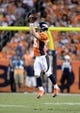 Sep 5, 2013; Denver, CO, USA; Denver Broncos wide receiver Wes Welker (83) pulls in a reception during the game against the Baltimore Ravens at Sports Authority Field at Mile High. The Broncos defeated the Ravens 49-27. Mandatory Credit: Ron Chenoy-USA TODAY Sports