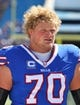 Sep 8, 2013; Orchard Park, NY, USA; Buffalo Bills center Eric Wood (70) before a game against the New England Patriots at Ralph Wilson Stadium.  Mandatory Credit: Timothy T. Ludwig-USA TODAY Sports