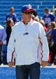 Sep 8, 2013; Orchard Park, NY, USA; Buffalo Bills former quarterback Jim Kelly on the field before a game between the Buffalo Bills and the New England Patriots at Ralph Wilson Stadium.  Mandatory Credit: Timothy T. Ludwig-USA TODAY Sports
