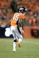 Sep 5, 2013; Denver, CO, USA; Denver Broncos cornerback Dominique Rodgers-Cromartie (45) during the game against the Baltimore Ravens at Sports Authority Field at Mile High. Mandatory Credit: Ron Chenoy-USA TODAY Sports