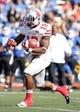 Sep 14, 2013; Buffalo, NY, USA; Stony Brook Seawolves running back Jamie Williams (19) runs with the ball during the game against the Buffalo Bulls at University of Buffalo Stadium. Buffalo beats Stony Brook 26-23 in OT. Mandatory Credit: Kevin Hoffman-USA TODAY Sports