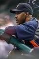 Sep 16, 2013; Houston, TX, USA; Houston Astros manager Bo Porter (16) watches from the dugout during the fifth inning against the Cincinnati Reds at Minute Maid Park. Mandatory Credit: Troy Taormina-USA TODAY Sports