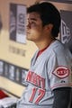 Sep 16, 2013; Houston, TX, USA; Cincinnati Reds center fielder Shin-Soo Choo (17) sits on the bench during the second inning against the Houston Astros at Minute Maid Park. Mandatory Credit: Troy Taormina-USA TODAY Sports