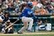Sep 15, 2013; Detroit, MI, USA; Kansas City Royals center fielder Jarrod Dyson (1) at bat against the Detroit Tigers at Comerica Park. Mandatory Credit: Rick Osentoski-USA TODAY Sports