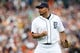 Sep 15, 2013; Detroit, MI, USA; Detroit Tigers relief pitcher Joaquin Benoit (53) pumps his fist after the last out against the Kansas City Royals at Comerica Park. Mandatory Credit: Rick Osentoski-USA TODAY Sports