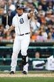 Sep 15, 2013; Detroit, MI, USA; Detroit Tigers third baseman Miguel Cabrera (24) points towards the first base umpire against the Kansas City Royals at Comerica Park. Mandatory Credit: Rick Osentoski-USA TODAY Sports
