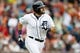 Sep 15, 2013; Detroit, MI, USA; Detroit Tigers catcher Alex Avila (13) runs to first after he hit a home run against the Kansas City Royals at Comerica Park. Mandatory Credit: Rick Osentoski-USA TODAY Sports
