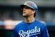Sep 15, 2013; Detroit, MI, USA; Kansas City Royals left fielder Alex Gordon (4) reacts against the Detroit Tigers at Comerica Park. Mandatory Credit: Rick Osentoski-USA TODAY Sports