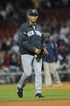 Sep 15, 2013; Boston, MA, USA; New York Yankees relief pitcher Mariano Rivera (42) walks off the field at the end of the game after being defeated by the Boston Red Sox at Fenway Park. Mandatory Credit: Bob DeChiara-USA TODAY Sports