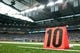 Sep 8, 2013; Detroit, MI, USA; A detailed view of a yard marker during the game between the Detroit Lions and the Minnesota Vikings at Ford Field. Mandatory Credit: Tim Fuller-USA TODAY Sports