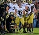 Sep 14, 2013; West Lafayette, IN, USA; Notre Dame Fighting Irish running back Cam McDaniel (33) gets up after losing his helmet while being tackled in the second quarter against the Purdue Boilermakers at Ross-Ade Stadium. Notre Dame won 31-24. Mandatory Credit: Matt Cashore-USA TODAY Sports