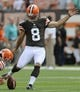 Sep 8, 2013; Cleveland, OH, USA; Cleveland Browns kicker Billy Cundiff (8) before the game against the Miami Dolphins at FirstEnergy Stadium. Mandatory Credit: Ken Blaze-USA TODAY Sports
