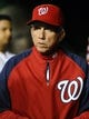 Sep 17, 2013; Washington, DC, USA; Washington Nationals manager Davey Johnson in the dugout during the game against the Atlanta Braves at Nationals Park. Mandatory Credit: Brad Mills-USA TODAY Sports