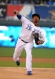 Sep 17, 2013; Kansas City, MO, USA; Kansas City Royals starting pitcher Yordano Ventura (30) warms up before the first inning against the Cleveland Indians at Kauffman Stadium. Mandatory Credit: John Rieger-USA TODAY Sports