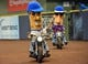 Sep 17, 2013; Milwaukee, WI, USA;  The Racing Sausages ride Harley Davidson motorcycles before game between the Milwaukee Brewers and Chicago Cubs at Miller Park. Mandatory Credit: Benny Sieu-USA TODAY Sports
