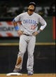 Sep 17, 2013; Milwaukee, WI, USA; Chicago Cubs shortstop Starlin Castro reacts after stealing second base in the fourth inning during the game against the Milwaukee Brewers at Miller Park. Mandatory Credit: Benny Sieu-USA TODAY Sports