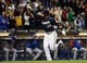 Sep 17, 2013; Milwaukee, WI, USA;  Milwaukee Brewers center fielder Carlos Gomez reacts after hitting a 2-run home run in the seventh inning against the Chicago Cubs at Miller Park. Mandatory Credit: Benny Sieu-USA TODAY Sports