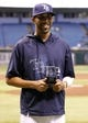 Sep 17, 2013; St. Petersburg, FL, USA; Tampa Bay Rays starting pitcher David Price is nominated for the Roberto Clemente Award before the game against the Texas Rangers at Tropicana Field. Mandatory Credit: Kim Klement-USA TODAY Sports