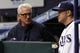 Sep 17, 2013; St. Petersburg, FL, USA; Tampa Bay Rays manager Joe Maddon (left) talks with third baseman Evan Longoria (3) in the dugout against the Texas Rangers at Tropicana Field. Mandatory Credit: Kim Klement-USA TODAY Sports