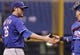 Sep 17, 2013; St. Petersburg, FL, USA; Texas Rangers relief pitcher Joe Nathan (36) high fives catcher A.J. Pierzynski (12) after defeating the Tampa Bay Rays at Tropicana Field. The Rangers won 7-1. Mandatory Credit: Kim Klement-USA TODAY Sports