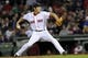 Sep 17, 2013; Boston, MA, USA; Boston Red Sox relief pitcher Koji Uehara (19) pitches during the ninth inning against the Baltimore Orioles at Fenway Park. Mandatory Credit: Bob DeChiara-USA TODAY Sports