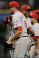 Sep 17, 2013; Houston, TX, USA; Cincinnati Reds relief pitcher Sean Marshall (45) celebrates with manager Dusty Baker (12) against the Houston Astros during the ninth inning at Minute Maid Park. The Reds won 10-0. Mandatory Credit: Thomas Campbell-USA TODAY Sports