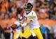 Sep 16, 2013; Cincinnati, OH, USA; Pittsburgh Steelers quarterback Ben Roethlisberger (7) against the Cincinnati Bengals at Paul Brown Stadium. Mandatory Credit: Andrew Weber-USA TODAY Sports