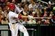 Sep 18, 2013; Washington, DC, USA; Washington Nationals outfielder Jayson Werth (28) singles in the third inning against the Atlanta Braves at Nationals Park. Mandatory Credit: Evan Habeeb-USA TODAY Sports