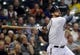 Sep 18, 2013; Milwaukee, WI, USA;  Milwaukee Brewers first baseman Sean Halton watches his grand slam home run in the first inning against the Chicago Cubs at Miller Park. Mandatory Credit: Benny Sieu-USA TODAY Sports