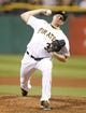 Sep 18, 2013; Pittsburgh, PA, USA; Pittsburgh Pirates relief pitcher Mark Melancon (35) delivers a pitch against the San Diego Padres during the ninth inning at PNC Park. The San Diego Padres won 3-2. Mandatory Credit: Charles LeClaire-USA TODAY Sports