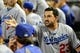 Sep 18, 2013; Phoenix, AZ, USA; Los Angeles Dodgers first baseman Adrian Gonzalez (23) reacts after being ejected from the game during the sixth inning against the Arizona Diamondbacks at Chase Field. Mandatory Credit: Matt Kartozian-USA TODAY Sports