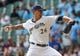 Sep 19, 2013; Milwaukee, WI, USA;  Milwaukee Brewers pitcher Kyle Lohse pitches against the Chicago Cubs in the first inning at Miller Park. Mandatory Credit: Benny Sieu-USA TODAY Sports