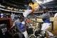 Sep 19, 2013; Phoenix, AZ, USA; Los Angeles Dodgers center fielder Matt Kemp (right) dumps gatorade on Hanley Ramirez (left) after defeating the Arizona Diamondbacks 7-6 to clinch the NL West title at Chase Field. Mandatory Credit: Rob Schumacher/The Arizona Republic-USA TODAY Sports