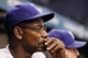 Sep 19, 2013; St. Petersburg, FL, USA; Texas Rangers manager Ron Washington (38) in the dugout against the Tampa Bay Rays at Tropicana Field. Texas Rangers defeated the Tampa Bay Rays 8-2. Mandatory Credit: Kim Klement-USA TODAY Sports