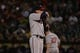 September 19, 2013; Oakland, CA, USA; Minnesota Twins starting pitcher Kevin Correia (30) reacts against the Oakland Athletics during the fourth inning at O.co Coliseum. Mandatory Credit: Kyle Terada-USA TODAY Sports