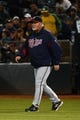 September 19, 2013; Oakland, CA, USA; Minnesota Twins manager Ron Gardenhire (35) walks to the pitcher's mound for a pitching change against the Oakland Athletics during the sixth inning at O.co Coliseum. Mandatory Credit: Kyle Terada-USA TODAY Sports