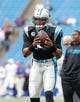 Sep 15, 2013; Orchard Park, NY, USA; Carolina Panthers quarterback Cam Newton (1) before the game against the Buffalo Bills at Ralph Wilson Stadium. Mandatory Credit: Kevin Hoffman-USA TODAY Sports