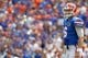 Aug 31, 2013; Gainesville, FL, USA; Florida Gators quarterback Jeff Driskel (6) during the first quarter against the Toledo Rockets at Ben Hill Griffin Stadium. Mandatory Credit: Kim Klement-USA TODAY Sports