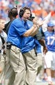 Aug 31, 2013; Gainesville, FL, USA; Florida Gators head coach Will Muschamp reacts during the first half against the Toledo Rockets at Ben Hill Griffin Stadium. Mandatory Credit: Kim Klement-USA TODAY Sports