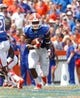 Aug 31, 2013; Gainesville, FL, USA; Florida Gators wide receiver Ahmad Fulwood (5) runs with the ball against the Toledo Rockets during the second half at Ben Hill Griffin Stadium. Florida Gators defeated the Toledo Rockets 24-6. Mandatory Credit: Kim Klement-USA TODAY Sports