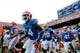Aug 31, 2013; Gainesville, FL, USA; Florida Gators defensive back Jaylen Watkins (14), defensive back Marcus Maye (20) and teammates run out of the tunnel prior to the game against the Toledo Rockets at Ben Hill Griffin Stadium. Mandatory Credit: Kim Klement-USA TODAY Sports