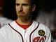Sep 20, 2013; Washington, DC, USA; Washington Nationals first baseman Adam LaRoche (25) wears a patch on his jersey in tribute to the victims of the Navy Yard shooting during the game against the Miami Marlins at Nationals Park. Mandatory Credit: Brad Mills-USA TODAY Sports