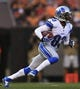 Aug 15, 2013; Cleveland, OH, USA; Detroit Lions wide receiver Pat Edwards (83) runs with the ball in the first quarter of a preseason game against the Cleveland Browns at FirstEnergy Stadium. Mandatory Credit: Andrew Weber-USA TODAY Sports
