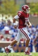 Sep 14, 2013; Norman, OK, USA; Oklahoma Sooners quarterback Blake Bell (10) reacts during the game against the Tulsa Golden Hurricane at Gaylord Family - Oklahoma Memorial Stadium. Oklahoma won 51-20. Mandatory Credit: Kevin Jairaj-USA TODAY Sports