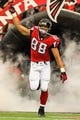 Sep 15, 2013; Atlanta, GA, USA; Atlanta Falcons tight end Tony Gonzalez (88) runs out on the field before the game against the St. Louis Rams at the Georgia Dome. The Falcons won 31-24. Mandatory Credit: Daniel Shirey-USA TODAY Sports