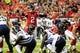 Sep 15, 2013; Atlanta, GA, USA; Atlanta Falcons quarterback Matt Ryan (2) calls an audible at the line before the game against the St. Louis Rams at the Georgia Dome. The Falcons won 31-24. Mandatory Credit: Daniel Shirey-USA TODAY Sports