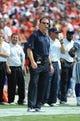 Sep 15, 2013; Kansas City, MO, USA; Dallas Cowboys head coach Jason Garrett watches against the Kansas City Chiefs in the second half at Arrowhead Stadium. Kansas City won the game 17-16. Mandatory Credit: John Rieger-USA TODAY Sports